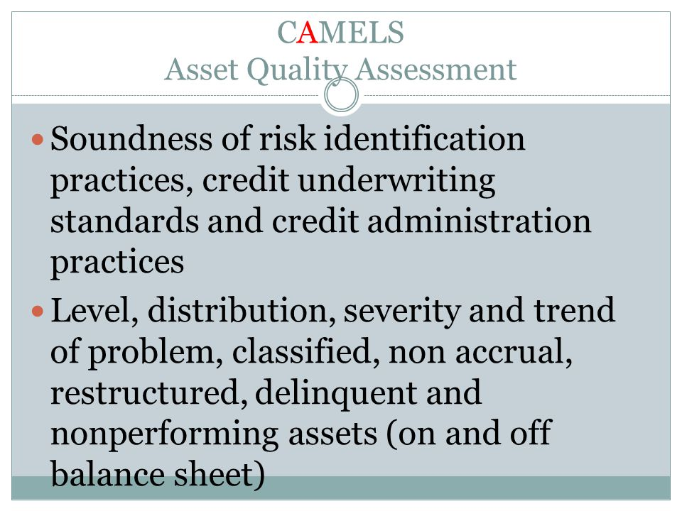 CAMELS Asset Quality Assessment Soundness of risk identification practices, credit underwriting standards and credit administration practices Level, d