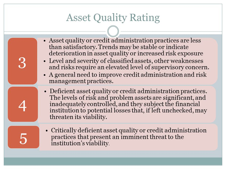 Asset Quality Rating Asset quality or credit administration practices are less than satisfactory. Trends may be stable or indicate deterioration in as