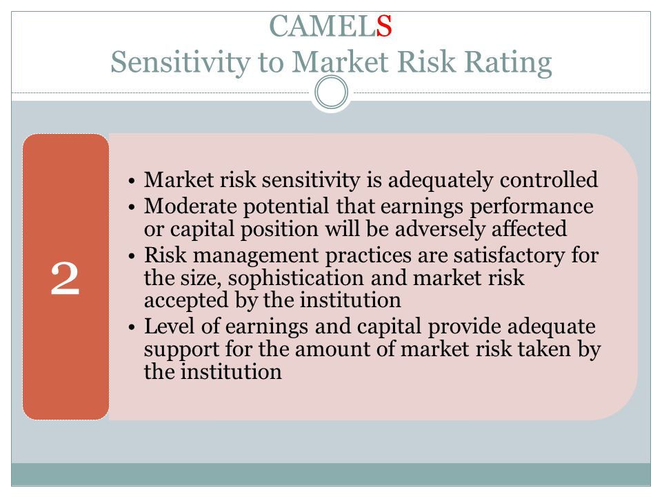 CAMELS Sensitivity to Market Risk Rating Market risk sensitivity is adequately controlled Moderate potential that earnings performance or capital posi