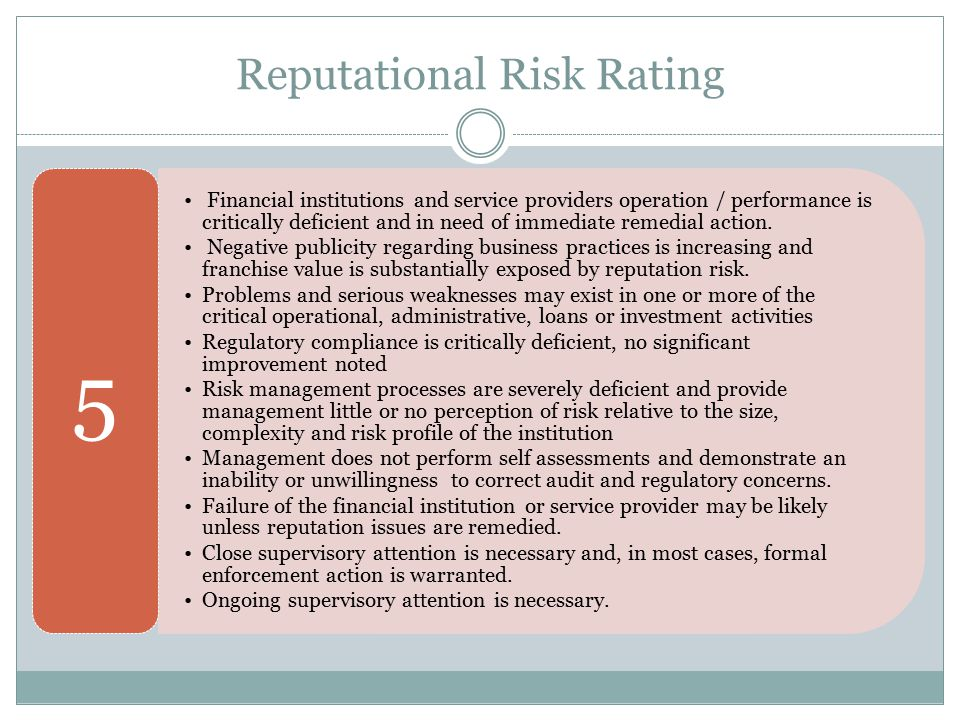 Reputational Risk Rating Financial institutions and service providers operation / performance is critically deficient and in need of immediate remedia