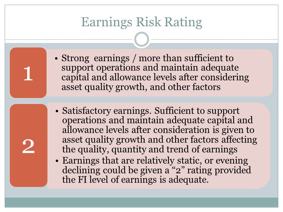 Earnings Risk Rating Strong earnings / more than sufficient to support operations and maintain adequate capital and allowance levels after considering