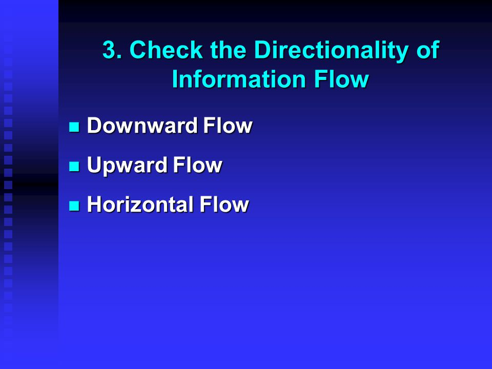 3. Check the Directionality of Information Flow Downward Flow Downward Flow Upward Flow Upward Flow Horizontal Flow Horizontal Flow