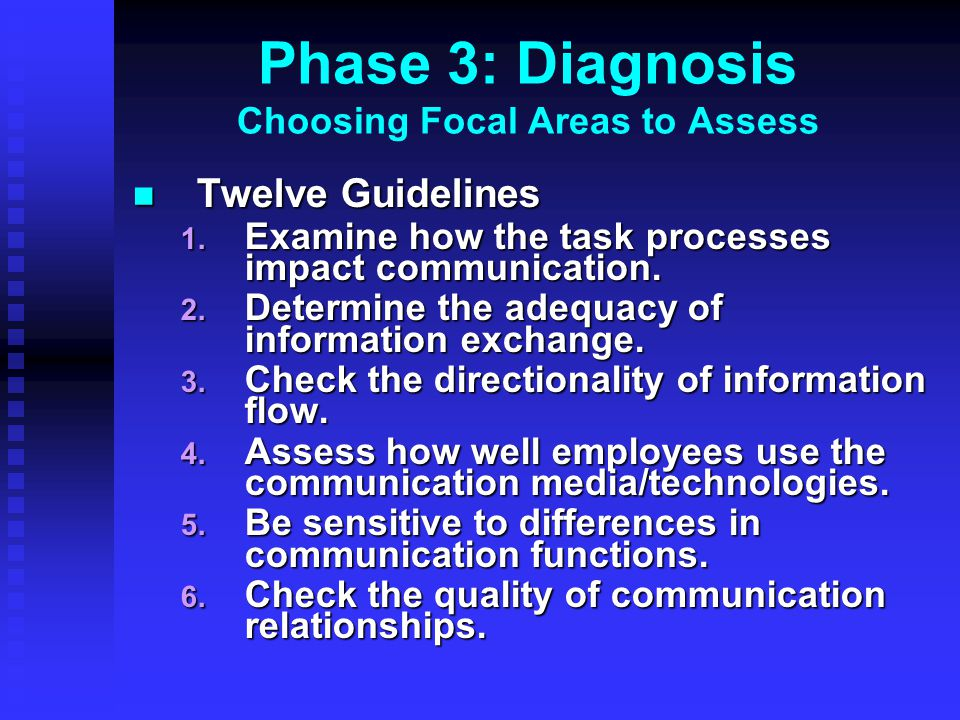 Phase 3: Diagnosis Choosing Focal Areas to Assess Twelve Guidelines Twelve Guidelines 1. Examine how the task processes impact communication. 2. Deter