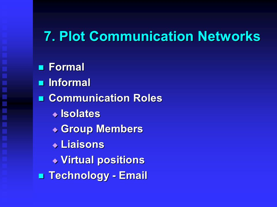 7. Plot Communication Networks Formal Formal Informal Informal Communication Roles Communication Roles  Isolates  Group Members  Liaisons  Virtual
