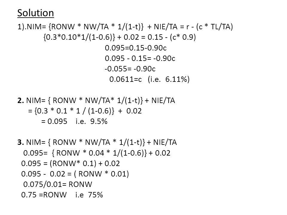 Solution 1).NIM= {RONW * NW/TA * 1/(1-t)} + NIE/TA = r - (c * TL/TA) {0.3*0.10*1/(1-0.6)} + 0.02 = 0.15 - (c* 0.9) 0.095=0.15-0.90c 0.095 - 0.15= -0.90c -0.055= -0.90c 0.0611=c (i.e.