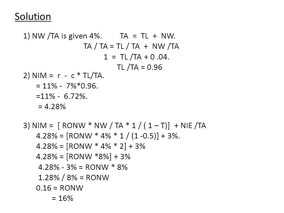 1) NW /TA is given 4%. TA = TL + NW. TA / TA = TL / TA + NW /TA 1 = TL /TA + 0.04.