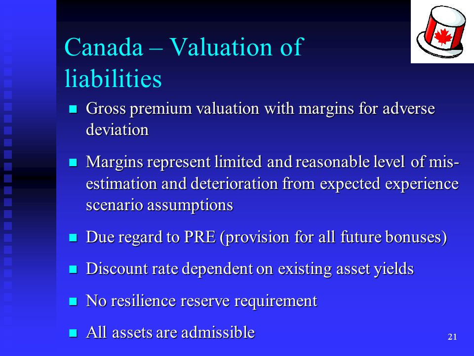 21 Canada – Valuation of liabilities Gross premium valuation with margins for adverse deviation Gross premium valuation with margins for adverse devia