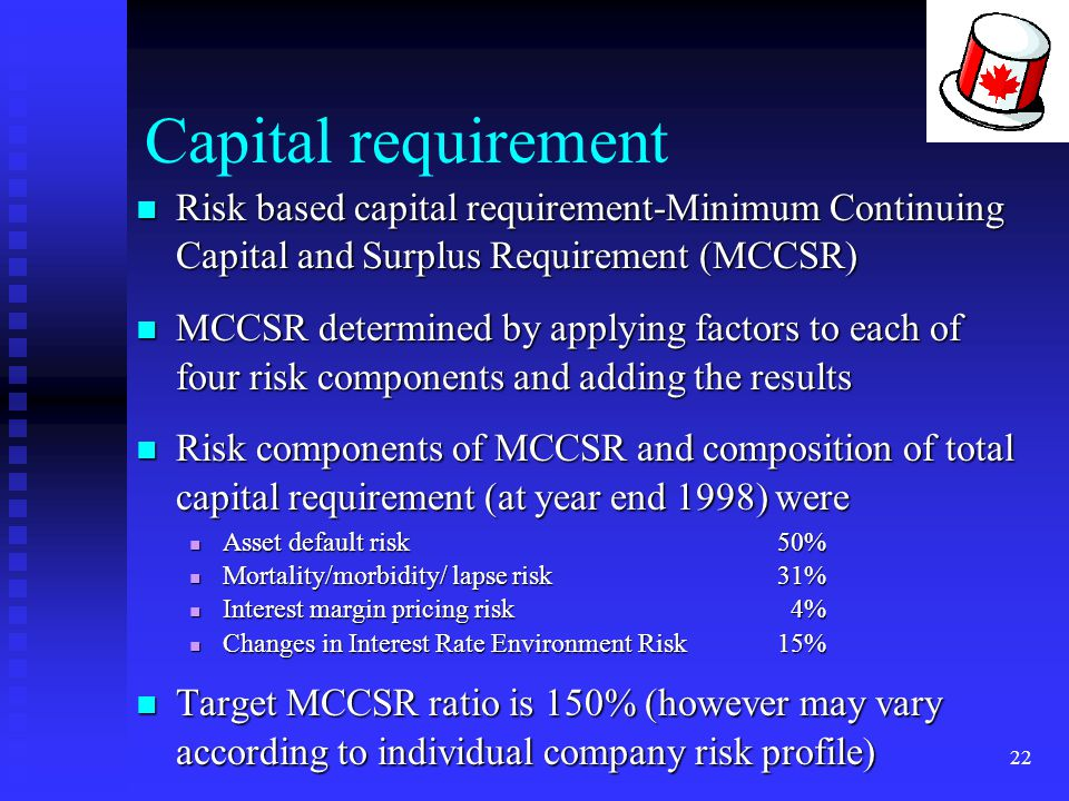 22 Capital requirement Risk based capital requirement-Minimum Continuing Capital and Surplus Requirement (MCCSR) Risk based capital requirement-Minimu