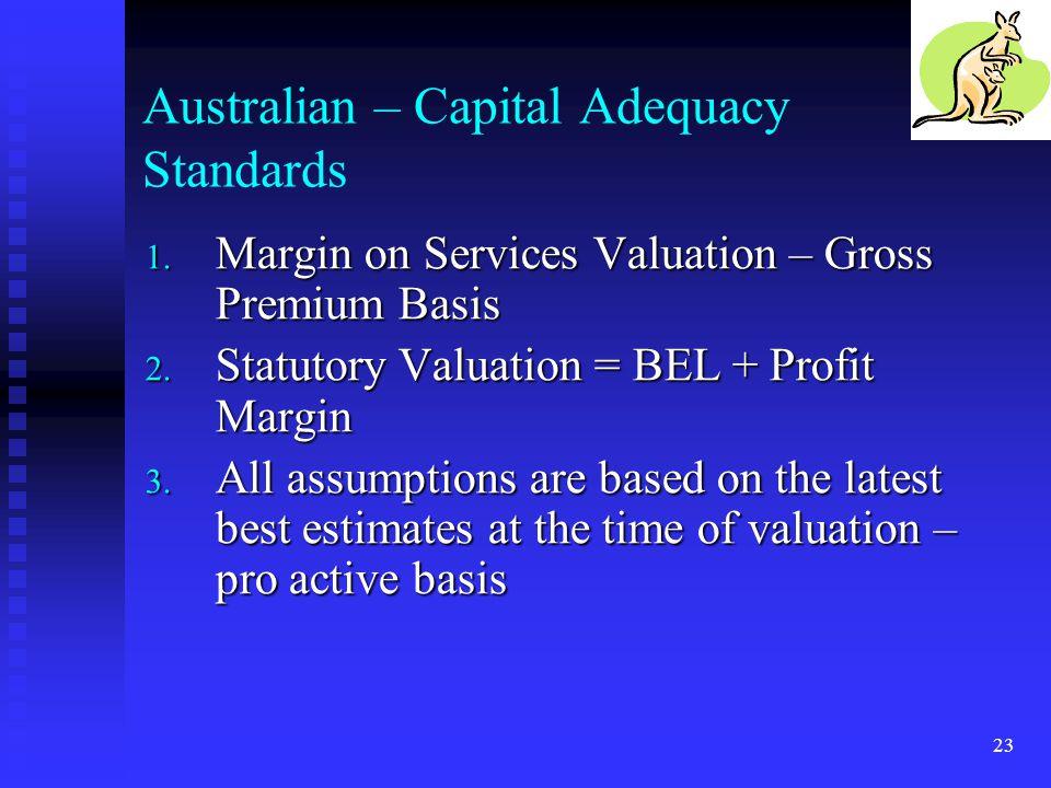 23 Australian – Capital Adequacy Standards 1. Margin on Services Valuation – Gross Premium Basis 2. Statutory Valuation = BEL + Profit Margin 3. All a