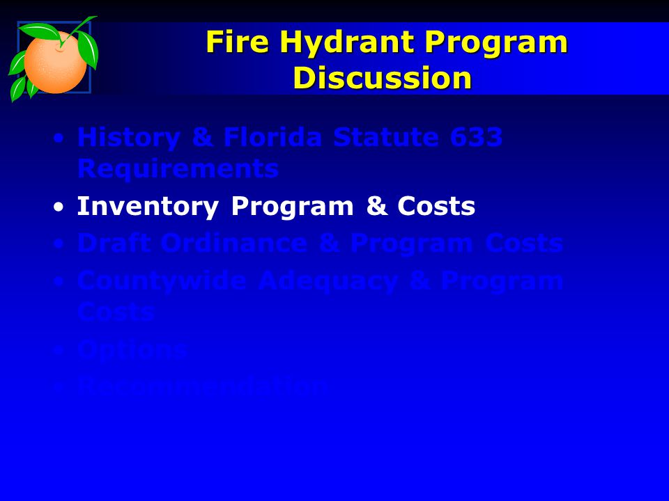 Fire Hydrant Program Discussion Fire Hydrant Program Discussion History & Florida Statute 633 Requirements Inventory Program & Costs Draft Ordinance &