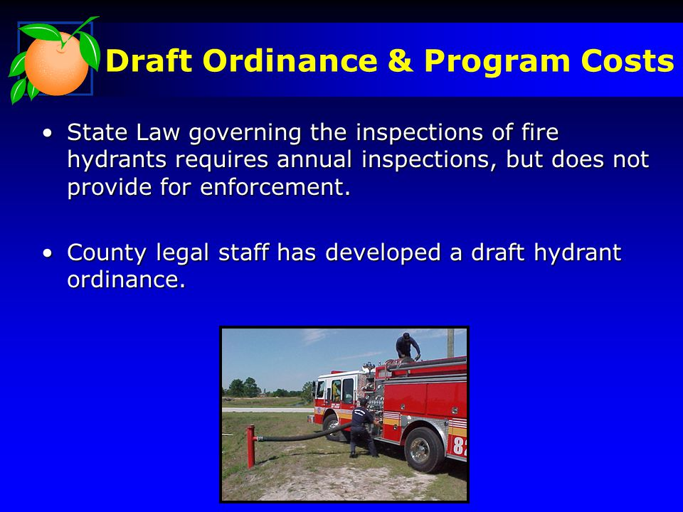 Draft Ordinance & Program Costs State Law governing the inspections of fire hydrants requires annual inspections, but does not provide for enforcement