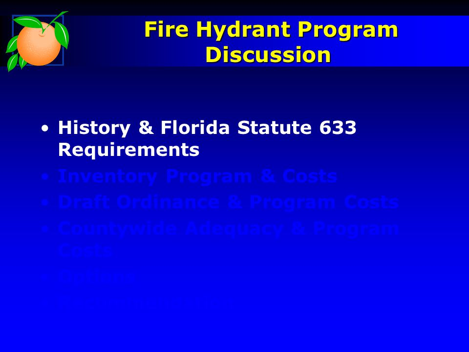 History & Florida Statute 633 Requirements Inventory Program & Costs Draft Ordinance & Program Costs Countywide Adequacy & Program Costs Options Recommendation Fire Hydrant Program Discussion Fire Hydrant Program Discussion