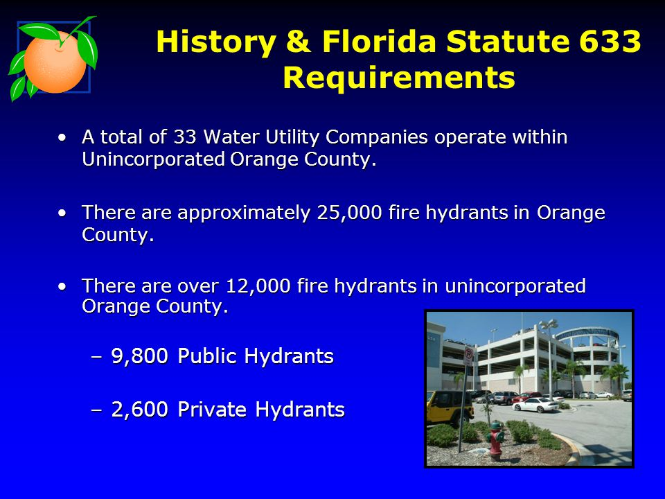 History & Florida Statute 633 Requirements A total of 33 Water Utility Companies operate within Unincorporated Orange County.A total of 33 Water Utility Companies operate within Unincorporated Orange County.