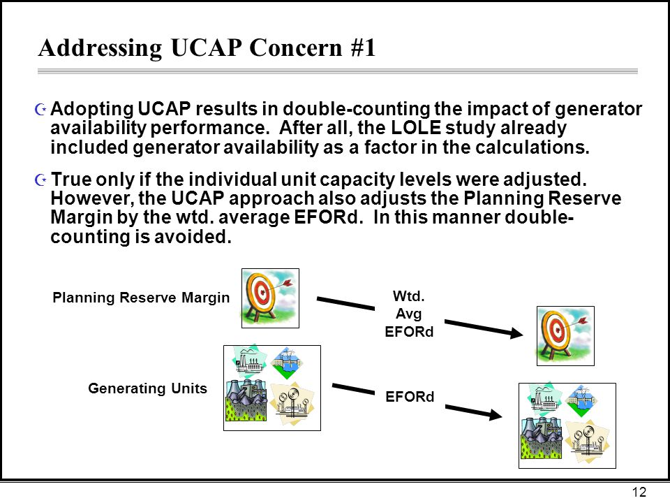 12 Addressing UCAP Concern #1 Z Adopting UCAP results in double-counting the impact of generator availability performance.