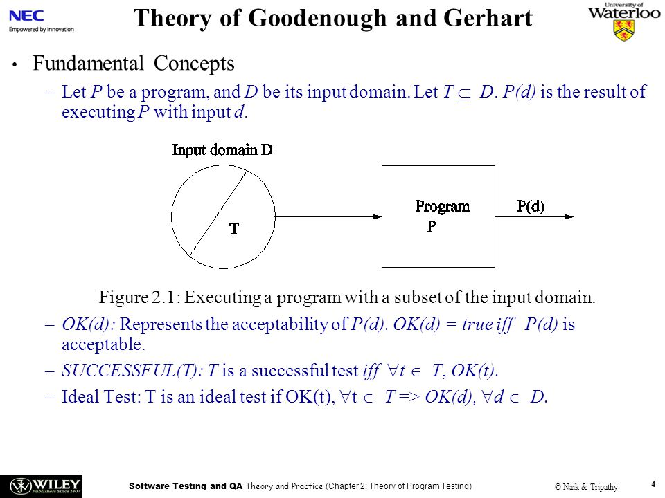 Software Testing and QA Theory and Practice (Chapter 2: Theory of Program Testing) © Naik & Tripathy 4 Theory of Goodenough and Gerhart Fundamental Concepts –Let P be a program, and D be its input domain.
