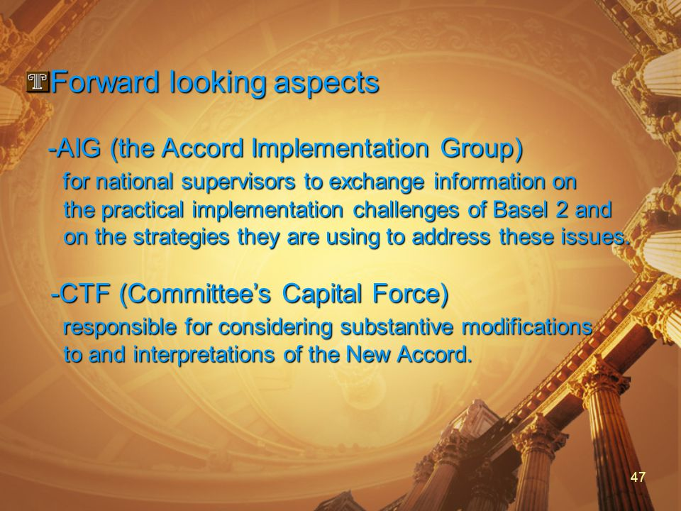 47 Forward looking aspects -AIG (the Accord Implementation Group) -AIG (the Accord Implementation Group) for national supervisors to exchange information on for national supervisors to exchange information on the practical implementation challenges of Basel 2 and the practical implementation challenges of Basel 2 and on the strategies they are using to address these issues.