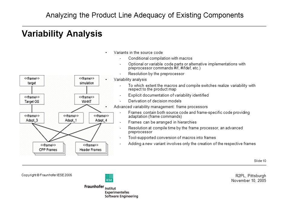 Slide 10 R2PL, Pittsburgh November 10, 2005 Copyright © Fraunhofer IESE 2005 Analyzing the Product Line Adequacy of Existing Components Variability Analysis Variants in the source code -Conditional compilation with macros -Optional or variable code parts or alternative implementations with preprocessor commands #if, #ifdef, etc.) -Resolution by the preprocessor Variability analysis -To which extent the macros and compile switches realize variability with respect to the product map -Explicit documentation of variability identified -Derivation of decision models Advanced variability management: frame processors -Frames contain both source code and frame-specific code providing adaptation (frame commands) -Frames can be arranged in hierarchies -Resolution at compile time by the frame processor, an advanced preprocessor -Tool-supported conversion of macros into frames -Adding a new variant involves only the creation of the respective frames