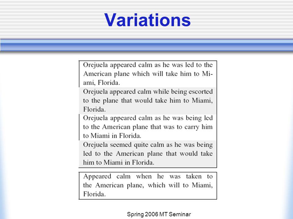 Spring 2006 MT Seminar Variations