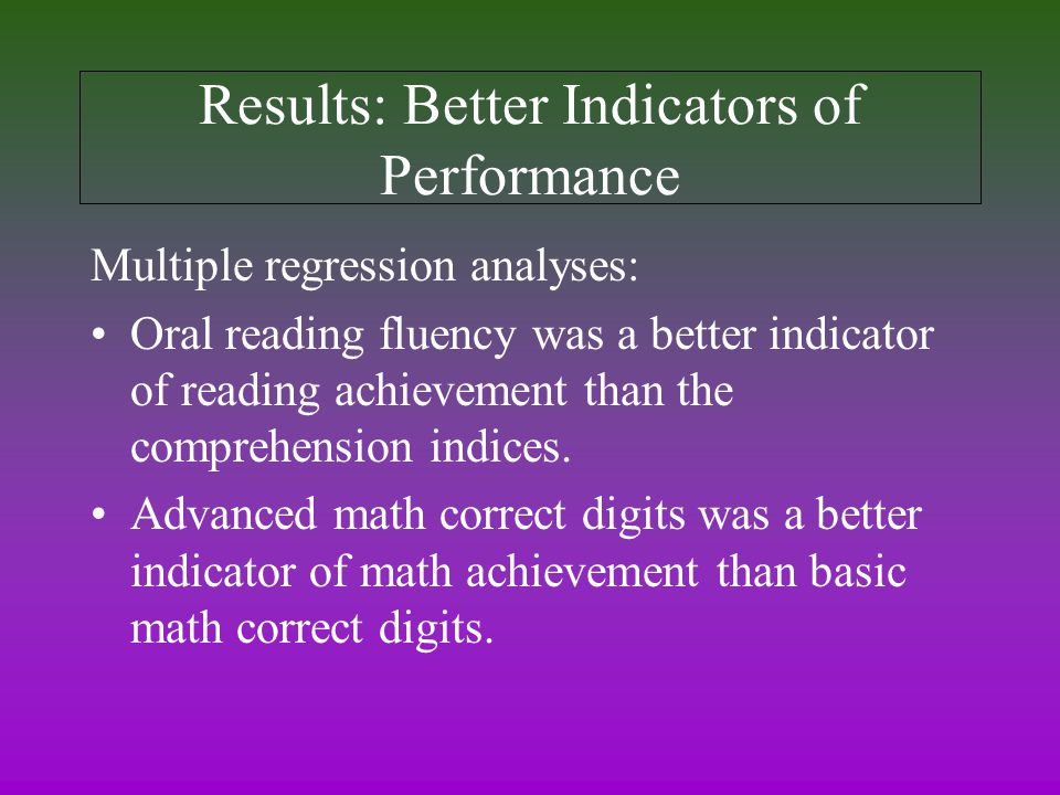 Results: Better Indicators of Performance Multiple regression analyses: Oral reading fluency was a better indicator of reading achievement than the comprehension indices.