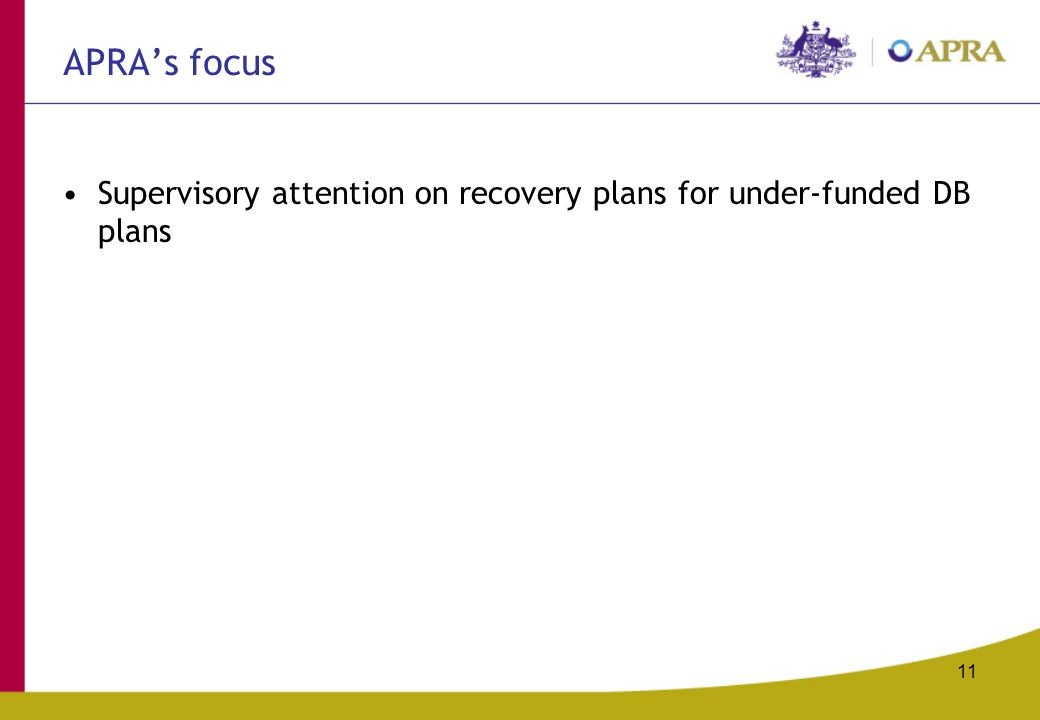 11 APRA's focus Supervisory attention on recovery plans for under-funded DB plans