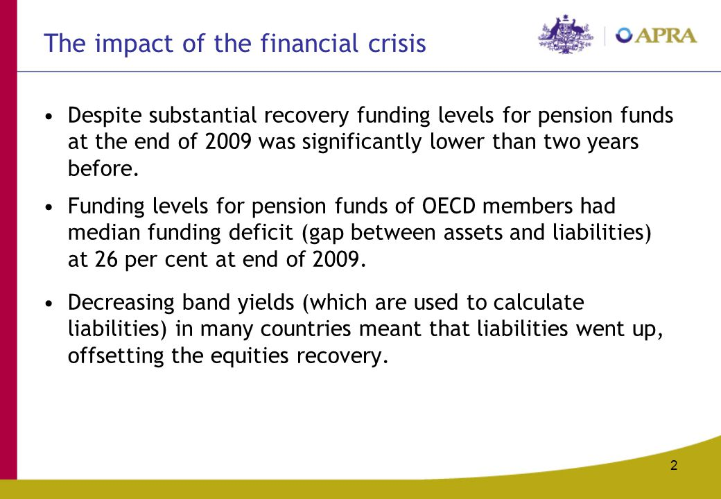 The impact of the financial crisis Despite substantial recovery funding levels for pension funds at the end of 2009 was significantly lower than two y
