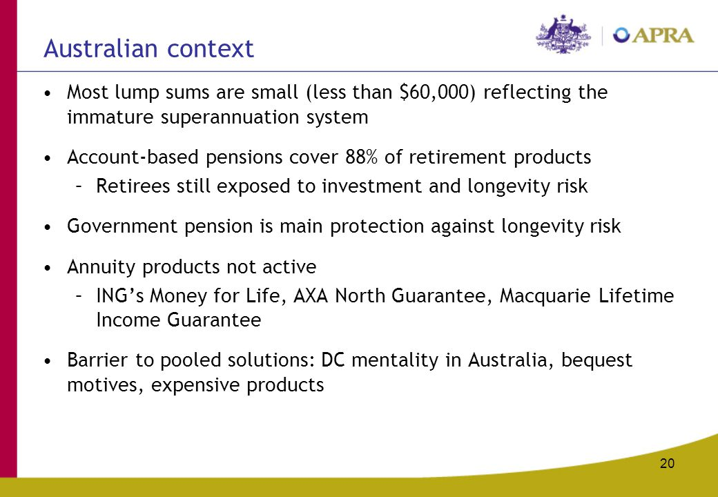 20 Australian context Most lump sums are small (less than $60,000) reflecting the immature superannuation system Account-based pensions cover 88% of retirement products –Retirees still exposed to investment and longevity risk Government pension is main protection against longevity risk Annuity products not active –ING's Money for Life, AXA North Guarantee, Macquarie Lifetime Income Guarantee Barrier to pooled solutions: DC mentality in Australia, bequest motives, expensive products
