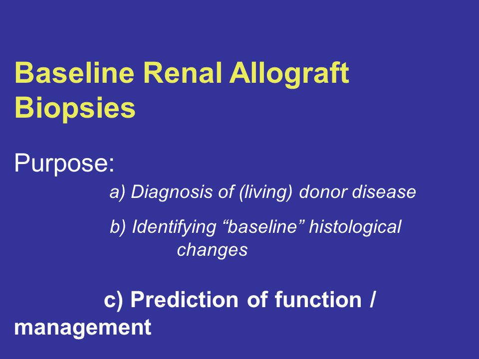 Baseline Renal Allograft Biopsies Purpose: a) Diagnosis of (living) donor disease b) Identifying baseline histological changes c) Prediction of function / management