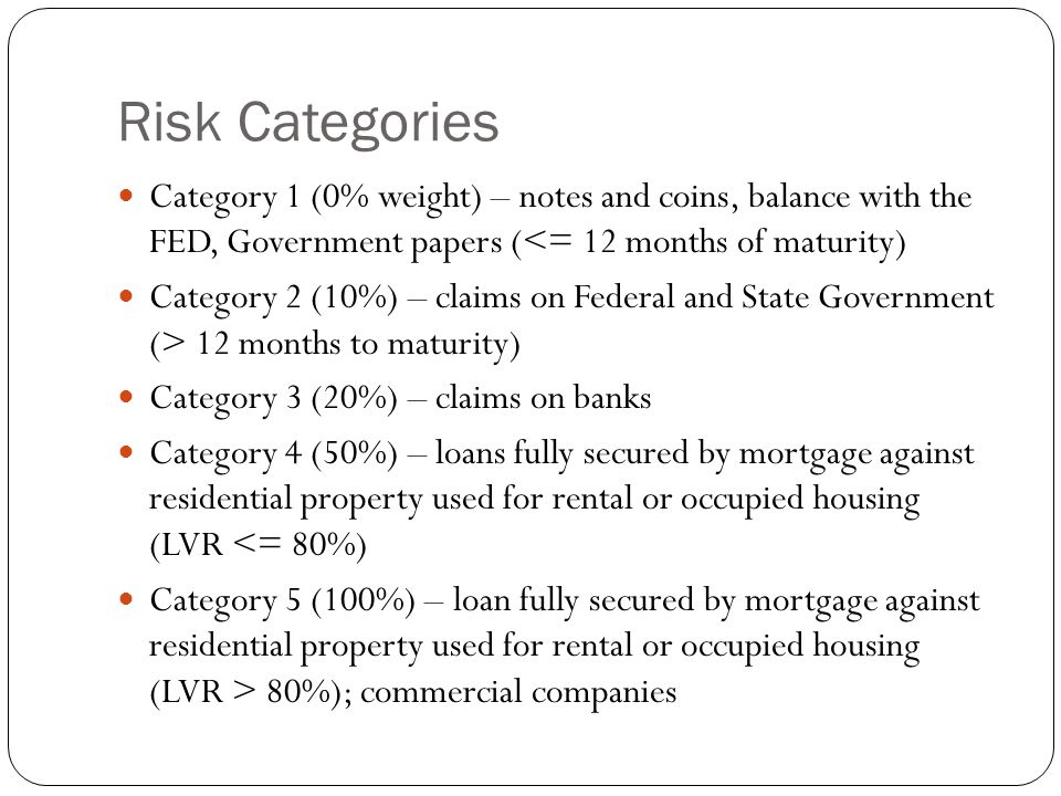 Risk Categories Category 1 (0% weight) – notes and coins, balance with the FED, Government papers (<= 12 months of maturity) Category 2 (10%) – claims on Federal and State Government (> 12 months to maturity) Category 3 (20%) – claims on banks Category 4 (50%) – loans fully secured by mortgage against residential property used for rental or occupied housing (LVR <= 80%) Category 5 (100%) – loan fully secured by mortgage against residential property used for rental or occupied housing (LVR > 80%); commercial companies