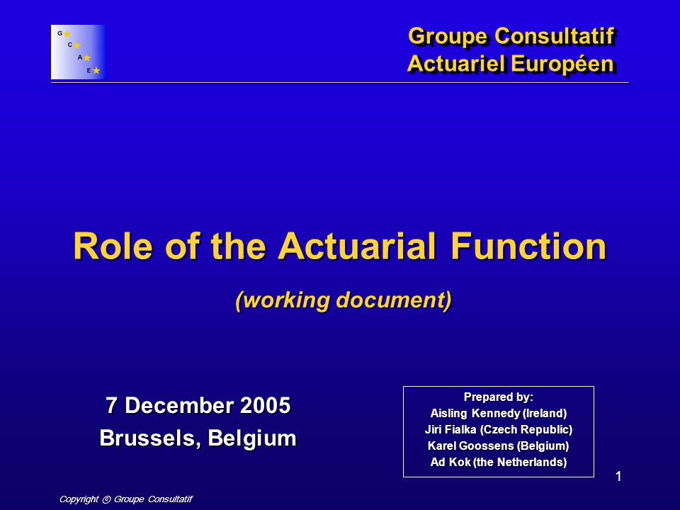 Copyright ⓒ Groupe Consultatif 1 Role of the Actuarial Function Groupe Consultatif Actuariel Européen 7 December 2005 Brussels, Belgium (working document) Prepared by: Aisling Kennedy (Ireland) Jiri Fialka (Czech Republic) Karel Goossens (Belgium) Ad Kok (the Netherlands)