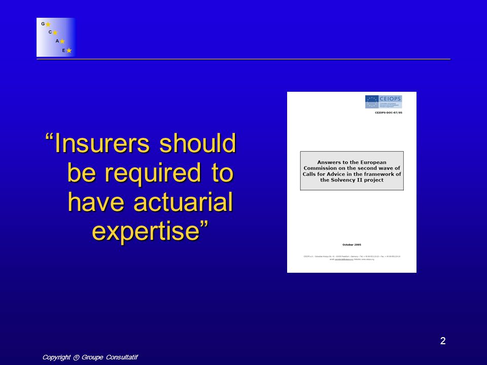 Copyright ⓒ Groupe Consultatif 2 Insurers should be required to have actuarial expertise