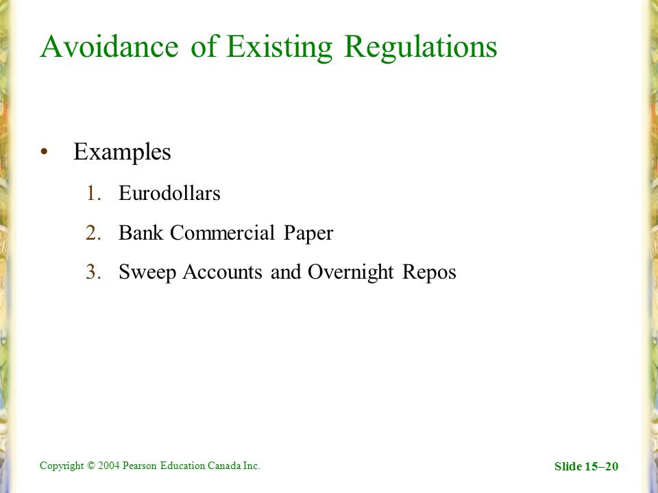 Copyright © 2004 Pearson Education Canada Inc. Slide 15–20 Avoidance of Existing Regulations Examples 1.Eurodollars 2.Bank Commercial Paper 3.Sweep Ac