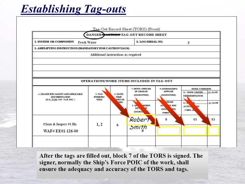 Establishing Tag-outs On the TORS, fill in blocks 1, 3-5, and 14-16 for each tag used. FW-15 FW-13 2 1 Shut Shut