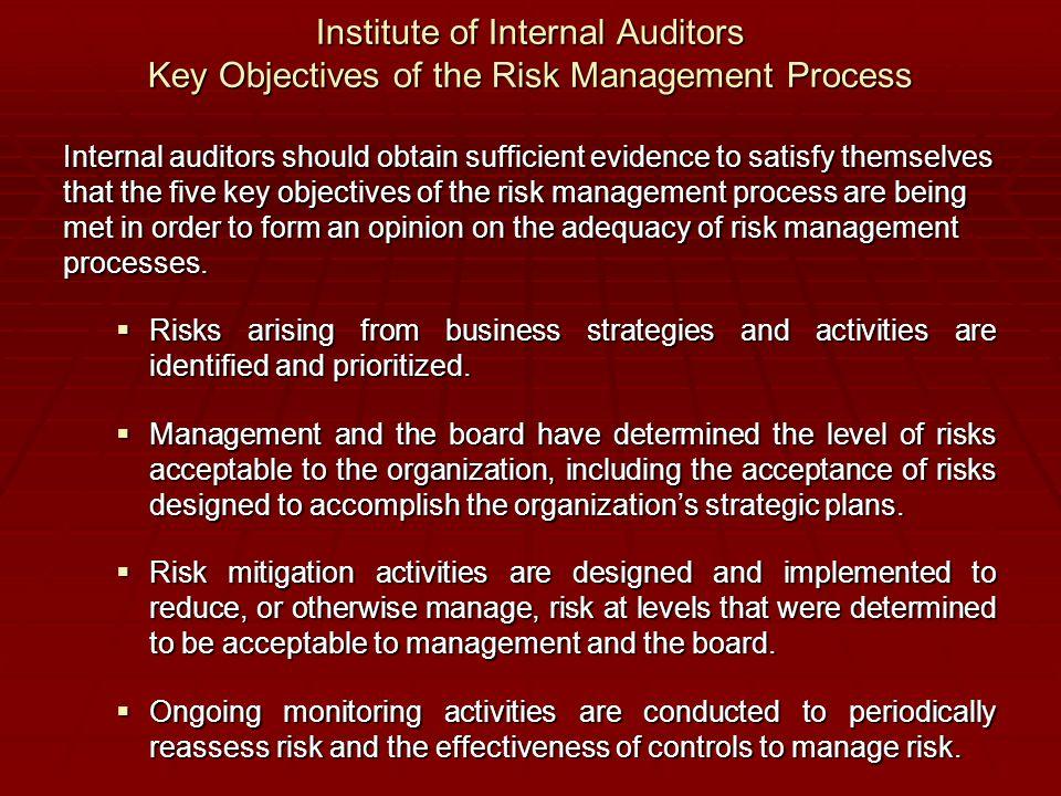 Institute of Internal Auditors Key Objectives of the Risk Management Process Internal auditors should obtain sufficient evidence to satisfy themselves