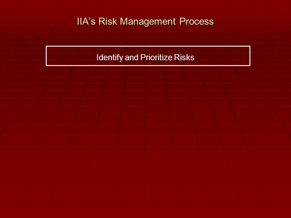 IIA's Risk Management Process Identify and Prioritize Risks