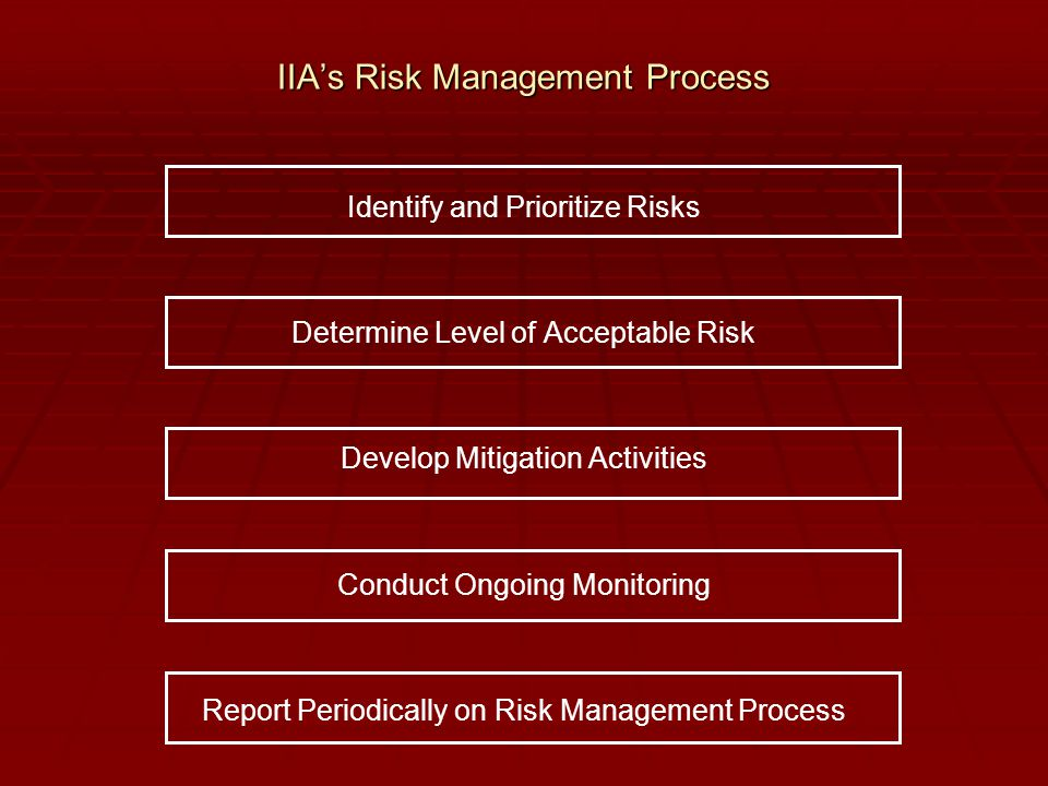 IIA's Risk Management Process Identify and Prioritize Risks Determine Level of Acceptable Risk Develop Mitigation Activities Conduct Ongoing Monitorin