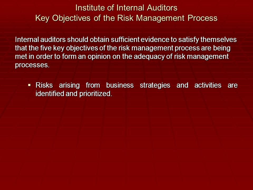 Institute of Internal Auditors Key Objectives of the Risk Management Process Internal auditors should obtain sufficient evidence to satisfy themselves that the five key objectives of the risk management process are being met in order to form an opinion on the adequacy of risk management processes.