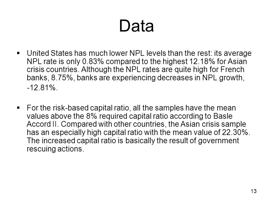 13 Data  United States has much lower NPL levels than the rest: its average NPL rate is only 0.83% compared to the highest 12.18% for Asian crisis countries.
