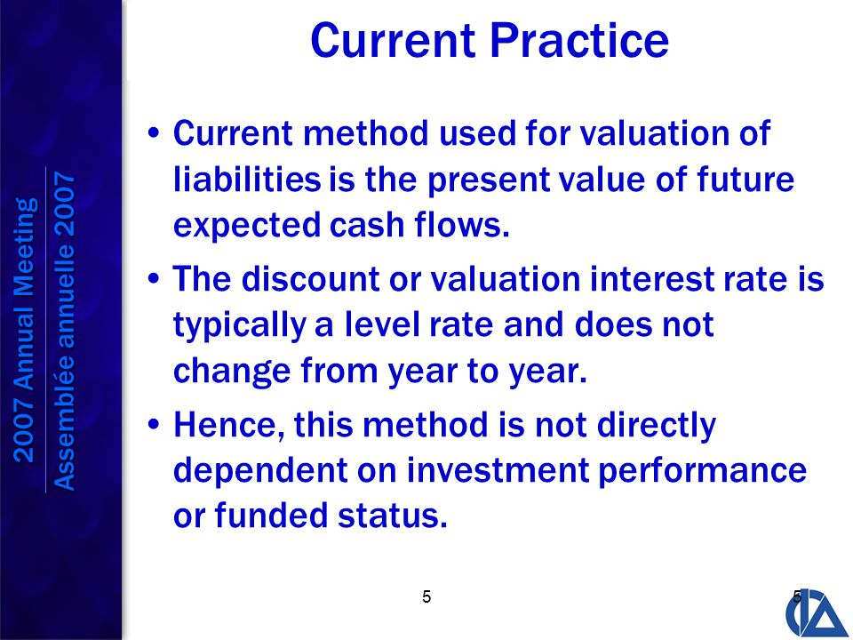 55 Current Practice Current method used for valuation of liabilities is the present value of future expected cash flows.