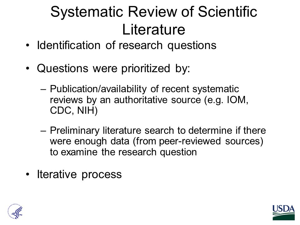Systematic Review of Scientific Literature Identification of research questions Questions were prioritized by: –Publication/availability of recent sys