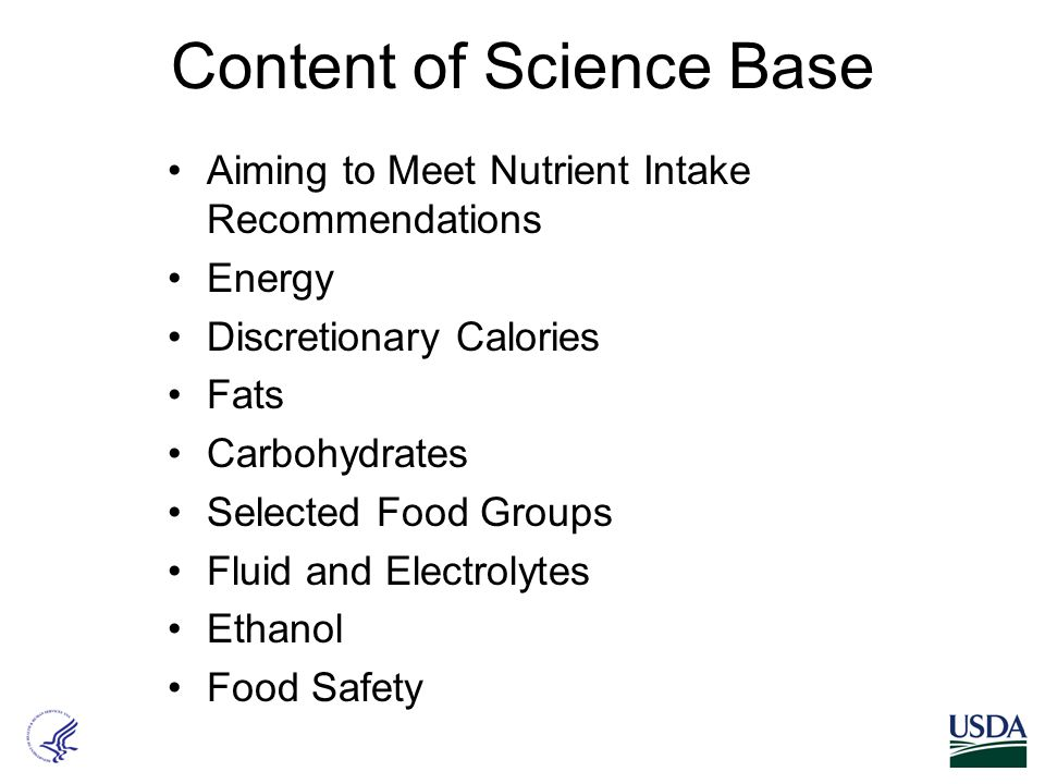 Content of Science Base Aiming to Meet Nutrient Intake Recommendations Energy Discretionary Calories Fats Carbohydrates Selected Food Groups Fluid and Electrolytes Ethanol Food Safety