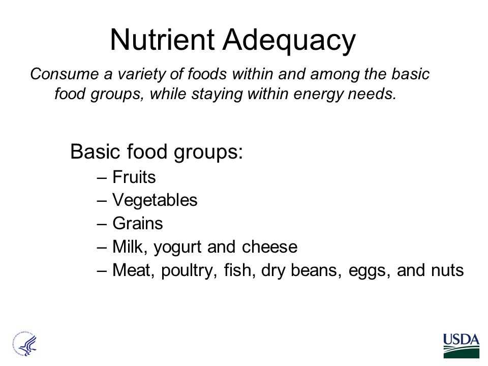 Nutrient Adequacy Basic food groups: –Fruits –Vegetables –Grains –Milk, yogurt and cheese –Meat, poultry, fish, dry beans, eggs, and nuts Consume a variety of foods within and among the basic food groups, while staying within energy needs.