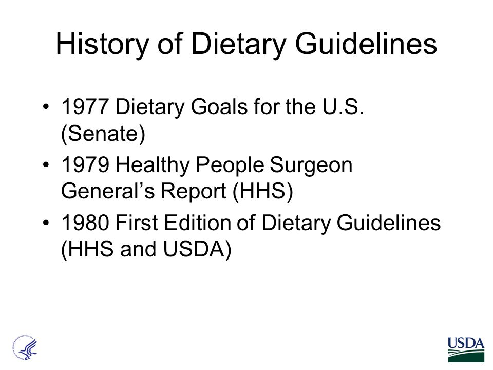 History of Dietary Guidelines 1977 Dietary Goals for the U.S.