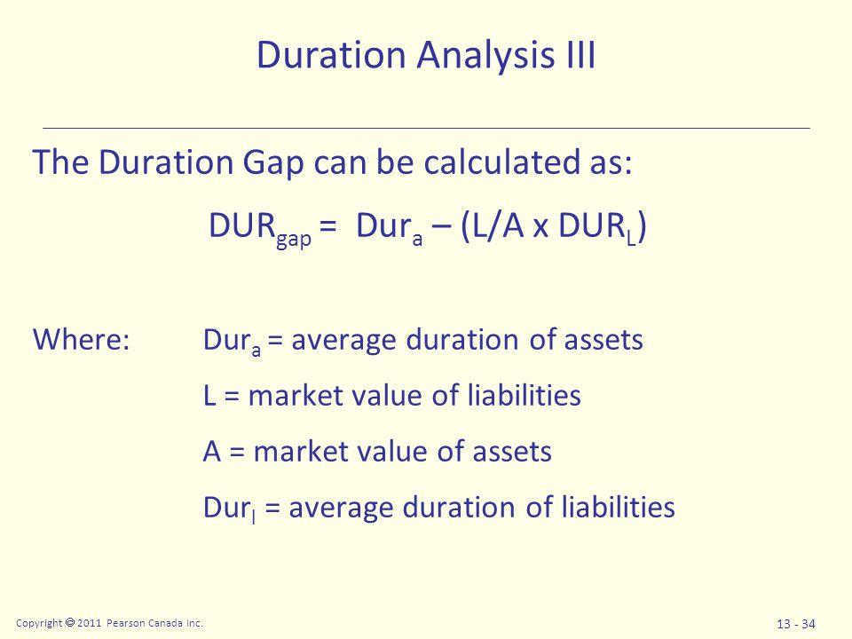 Copyright  2011 Pearson Canada Inc. 13 - 34 The Duration Gap can be calculated as: DUR gap = Dur a – (L/A x DUR L ) Where: Dur a = average duration o