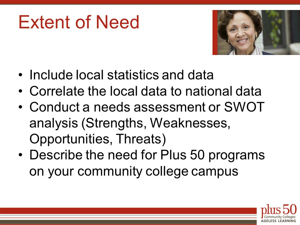 Extent of Need Include local statistics and data Correlate the local data to national data Conduct a needs assessment or SWOT analysis (Strengths, Weaknesses, Opportunities, Threats) Describe the need for Plus 50 programs on your community college campus