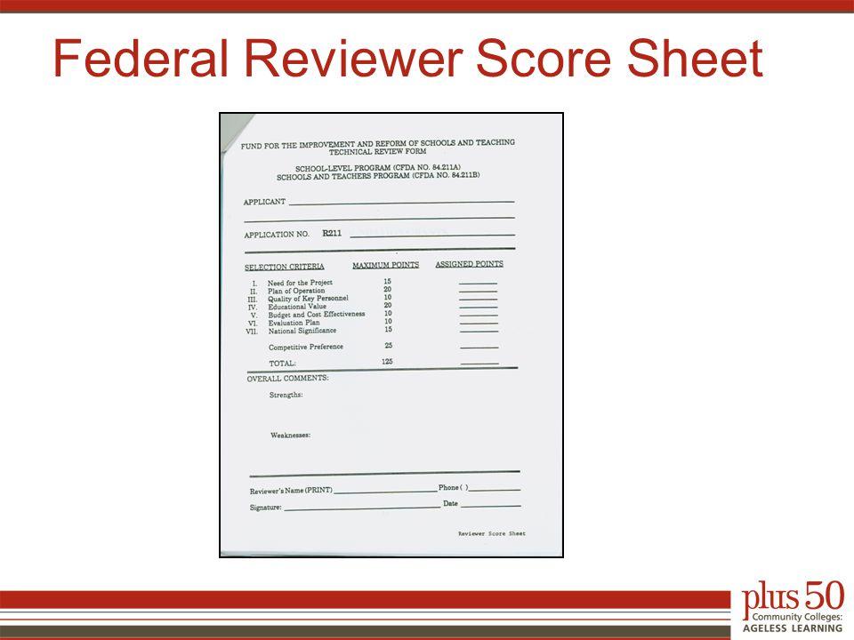 Federal Reviewer Score Sheet