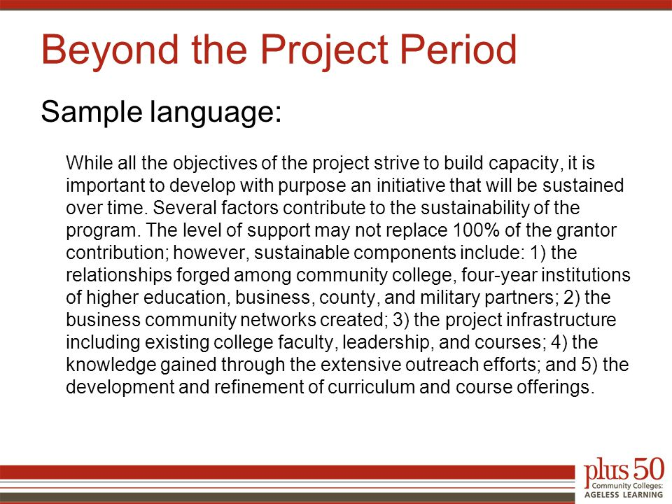 Sample language: While all the objectives of the project strive to build capacity, it is important to develop with purpose an initiative that will be sustained over time.