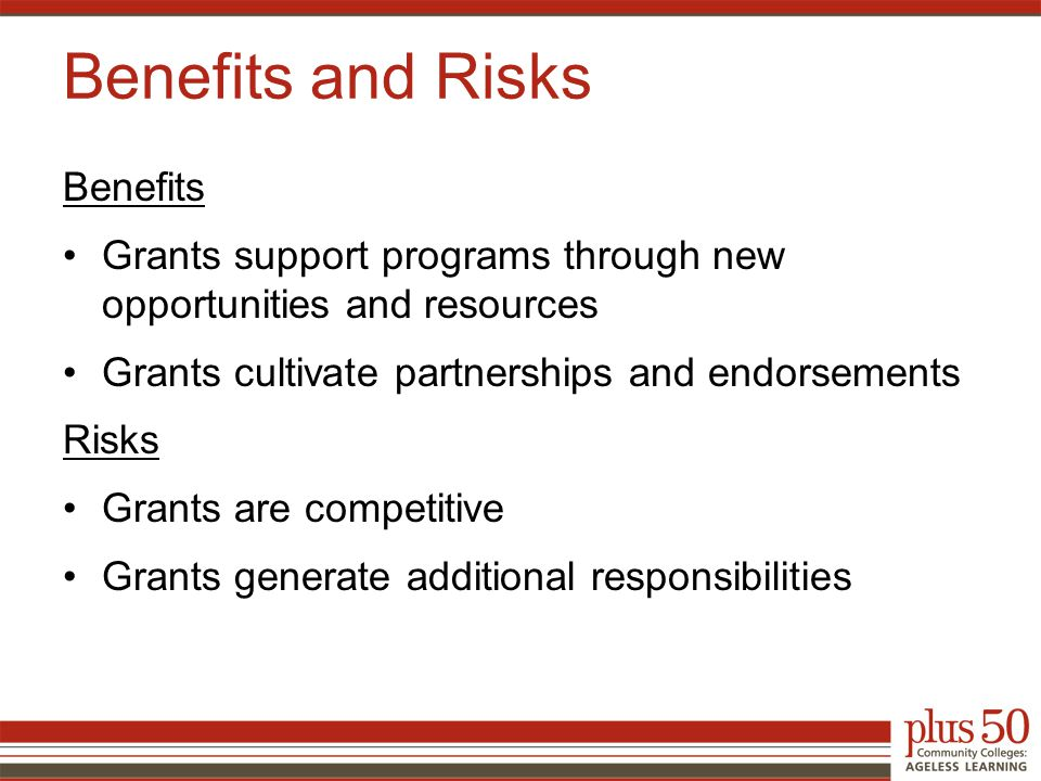 Benefits Grants support programs through new opportunities and resources Grants cultivate partnerships and endorsements Risks Grants are competitive Grants generate additional responsibilities Benefits and Risks