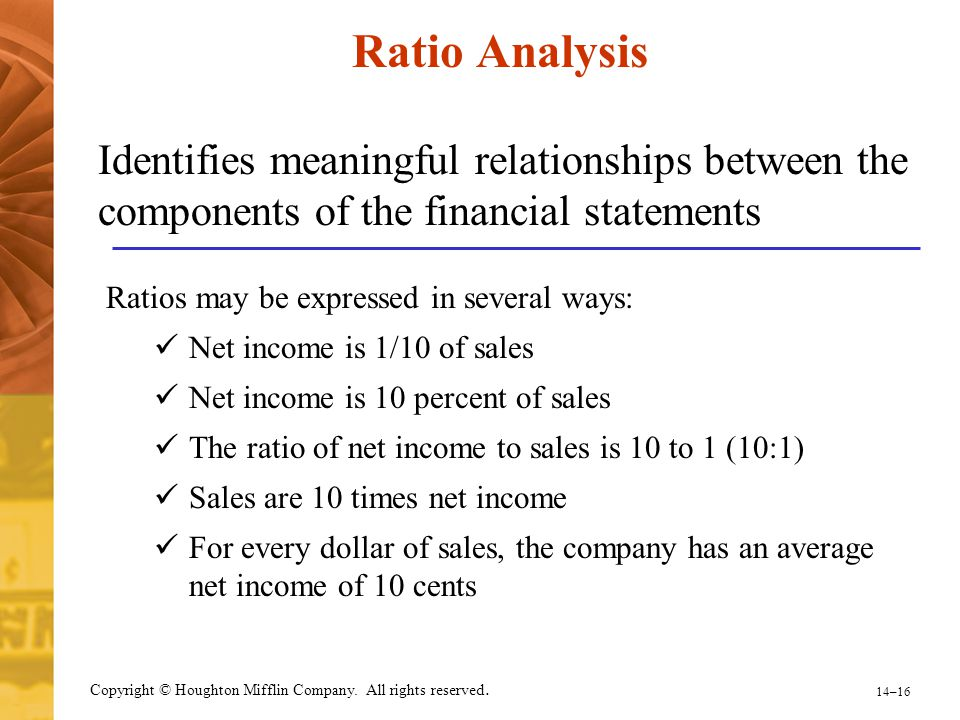 14–16 Copyright © Houghton Mifflin Company. All rights reserved. Ratio Analysis Identifies meaningful relationships between the components of the fina