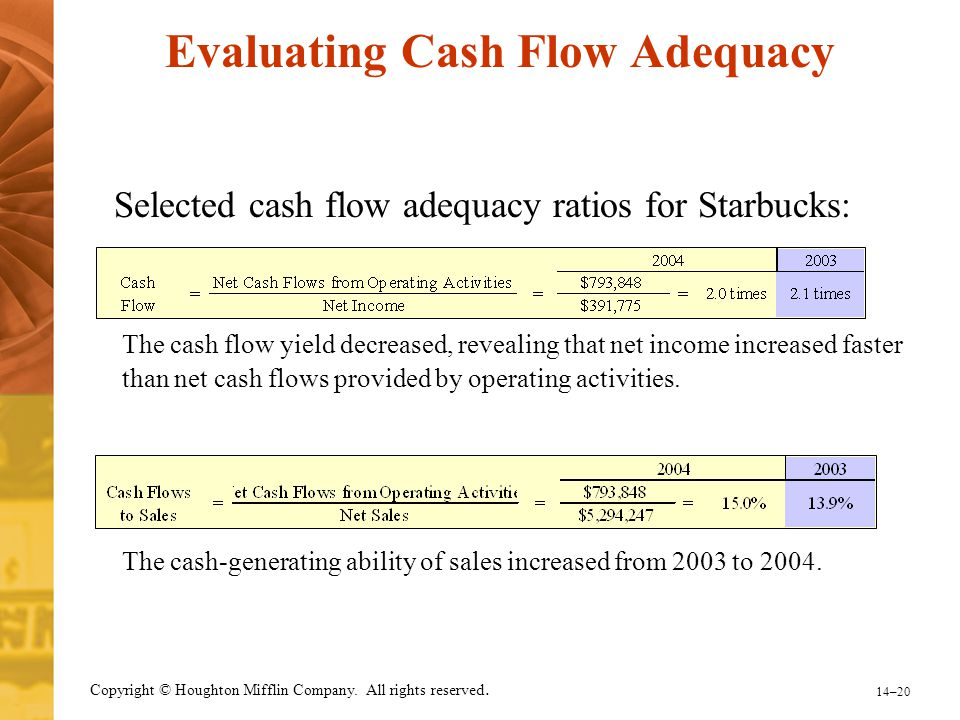14–20 Copyright © Houghton Mifflin Company. All rights reserved. Evaluating Cash Flow Adequacy Selected cash flow adequacy ratios for Starbucks: The c
