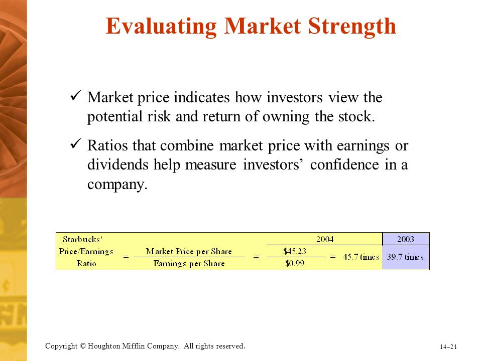 14–21 Copyright © Houghton Mifflin Company. All rights reserved. Evaluating Market Strength Market price indicates how investors view the potential ri